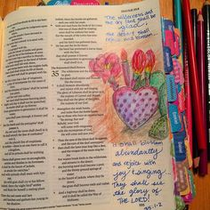 "My beautiful friend Fran showed me some photos from her recent trip to Arizona. The desert was in bloom. This particular prickly pear had 4 flowers in various stages of blooming. Its body was the shape of a heart! Such joy bursting from such an untouchable plant! I loved seeing it! The verses in Isaiah 35 speak to this beauty joy & hope! ""Isaiah 35:1-10 The wilderness and the dry land shall be glad;the desert shall rejoice and blossom like the crocus; it shall blossom abundantlyand rejoice…"