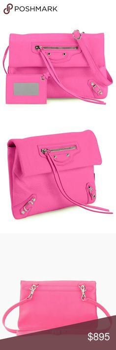 NEW BALENCIAGA CLASSIC NICKEL MINI ENVELOPE BAG Authentic. Made in Italy. Brand new with tags and the care cards. Color: Hot Pink. This bag can be worn as a cross-body bag, shoulder bag, or as a clutch. PLEASE NEW TRADE. THE PRICE IS FIRM. Balenciaga Classic Envelope lambskin bag with nickel hardware, including stud and buckle detail. Adjustable buckled crossbody/shoulder strap. Snap flap top. Exterior zip pocket. Black cotton-lined interior with zip pocket and Balenciaga embossed leather…