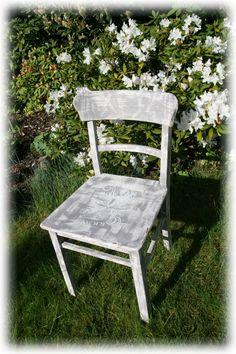 Vintage Stühle - schöner Stuhl Shabby grau-weiß Unikat - ein Designerstück von HeartmadebySteph bei DaWanda