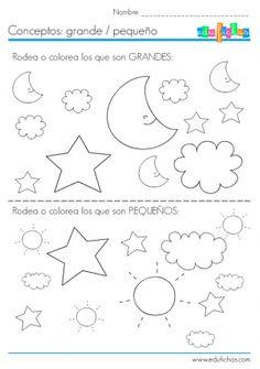 conceptos grande pequeño ficha Preschool Spanish, Preschool Math, Kindergarten, Spanish Worksheets, Spanish Language Learning, Baby Embroidery, Math Activities, Pre Kinder, Homework