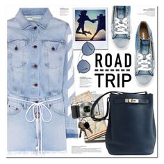 """""""DENIM ROAD TRIP"""" by nanawidia ❤ liked on Polyvore featuring Off-White, Diesel, Ray-Ban, Nikon and Hermès"""