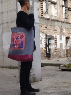 Large Tote Bag Hand Painted Canvas and Vegan Leather by koatye1
