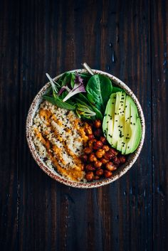 The Vegan Buddha Bowl | Well and Full | also good with yellow pepper base and red pepper flakes on top, 1/4 t coriander instead of fresh cilantro, no lemon--sub with 1T water 1 drop lemon essential oil