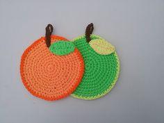 Presina all'uncinetto a mela e arancio