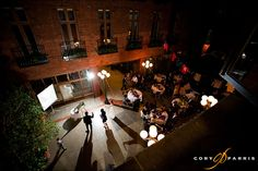 Possible Seattle wedding venue - The Court in the Square. Beautiful indoor courtyard with infinity pool and rustic bricks.