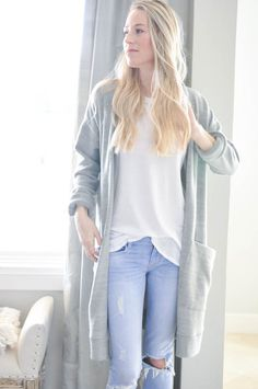 Simple Cardigan - Heather Grey
