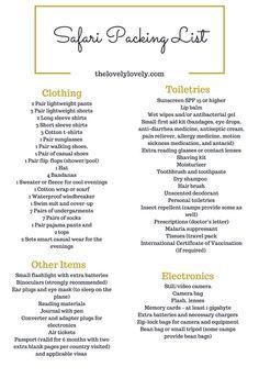 Packing List for Safari                                                       …