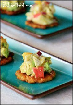 Mango Crab and Avacado Tostones