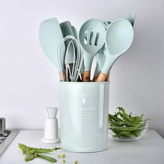 Silicone Cooking Utensil Set (Choose From Mint Green, Pastel Pink or Black)