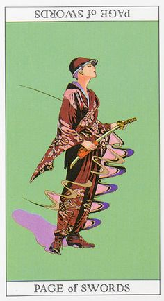 Love and Mystery Tarot by Yoshitaka Amano: Page of Swords