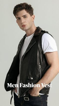 Boys Leather Jacket, Jay Gould, Men's Fashion, Fashion Outfits, Formal Looks, Latest Outfits, Mens Clothing Styles, Leather Material, Vests