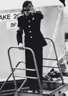 1988: Michael Jackson arrives at Heathrow Airport, London.