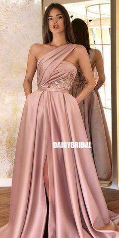 Slit dress prom - One Shoulder Aline Satin Backless Slit Prom Dress with Pockets, – Slit dress prom Gala Dresses, Quinceanera Dresses, Satin Dresses, Elegant Dresses, Pretty Dresses, Sexy Dresses, Evening Dresses, Casual Dresses, Fashion Dresses