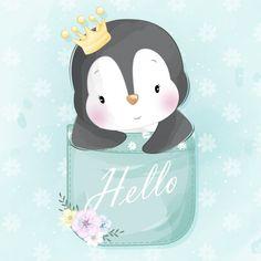 Cute little penguin sitting inside a poc. Boat Cartoon, Cute Cartoon, Baby Shower Background, Baby Animals, Cute Animals, Baby Raccoon, Cute Animal Illustration, Little Panda, Baby Unicorn