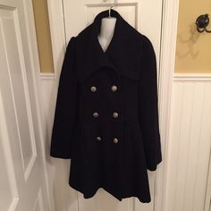 """Worthington black coat Silver buttons. Slight sparkle in fabric, see pics. About 34"""" long and sleeves are 25"""" long. Excellent condition. Worthington Jackets & Coats"""