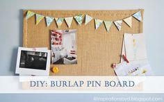 Burlap pin board using a regular bulletin board #burlap