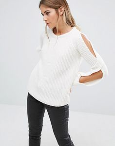 Fashion Union | Fashion Union Cold Shoulder Knitted Jumper In Rib at ASOS