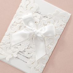 Shimmery Floral Wrap with Ribbon - Wedding Invitations