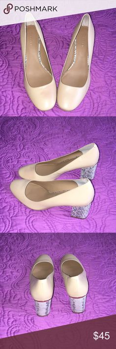 New Calvin Klein Shoes;Size 8-1/2 Block 2 inch decorative  heel; Natural Tan Color; Can be worn with all colors; ver classy shoe Calvin Klein Shoes Heels