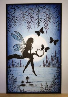 Lavinia Stamps Cards, Fairy Silhouette, Silhouette Images, Fairy Paintings, Fairy Pictures, Fairy Art, Silhouettes, Fantasy Art, Art Drawings