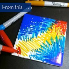 you'll need: White ceramic tiles Rubbing alcohol Small straw or eyedropper Your favorite Sharpie fine markers Spray fixative Arte Sharpie, Sharpie Canvas, Sharpie Alcohol, Sharpie Crafts, Sharpie Markers, Rubbing Alcohol, Sharpies, Sharpie Artwork, Sharpie Projects