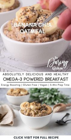 You never knew breakfast could taste this good until you try this peanut butter banana oatmeal. It helps you power through your morning, with potassium-rich bananas, healthy fats, and energy-boosting, omega 3 powered chia seeds. Plus, it is 100 percent dairy-free and vegan!