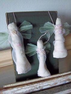 Shabby chic angel ornaments handmade pink by SweetMeadowDesigns, $13.00