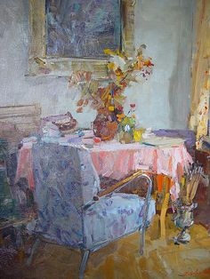 ◇ Artful Interiors ◇ paintings of beautiful rooms - Fedor Ivanovich Zakharov - painting of home interiors