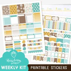 Fall planner stickers: TEAL & BROWN DAHLIAS by StrawberryScraps