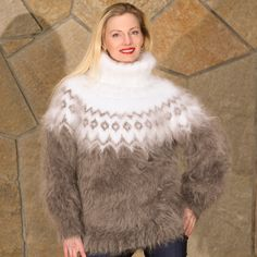 White Gray Handknit Mohair Sweater Icelandic Nordic Fluffy Jumper Supertanya