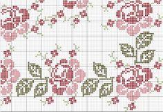 Bordados em Ponto Cruz da Cleozinha: Toalha de mesa com flores