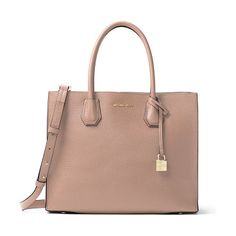 """Mercer Large Convertible Tote Bag by MICHAEL Michael Kors. MICHAEL Michael Kors pebbled leather tote bag. Rolled top handles with hanging logo padlock, 6.5"""" drop. Removable, ad..."""
