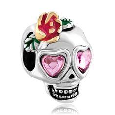 Dia De Los Muertos Skeleton Skull Rose Pink Birthstone Crystal Eyes Flower Sale Cheap Charm Bead Fits Pandora Bracelet