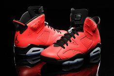 nike air jordan 6 (VI) retro shoes men-red/black - Click Image to Close
