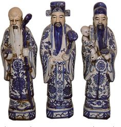 Set of Three Chinese Porcelain Male Figurines.