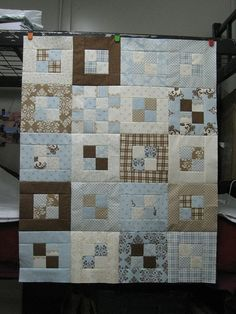 Quilt top idea -- four patches in the center with each edged -- 20 blocks total
