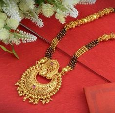 Explore the trendy collection of Gold Mangalsutra design at Waman Hari Pethe Sons. Gold Bangles Design, Gold Earrings Designs, Gold Jewellery Design, Silver Jewellery, Temple Jewellery, Jewlery, Silver Rings, Gold Haram Designs, Gold Mangalsutra Designs