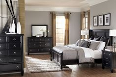 gray bedrooms black furniture - Google Search