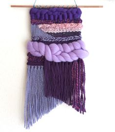 handmade woven wall hanging tapestry weaving, pink purple fluffy medium size > pisa