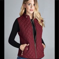 Jackets & Blazers - NEW! Fall Quilted Maroon/Wine Puffer Vest Jacket