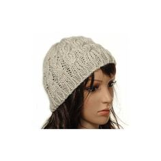Knit Crochet Hat Winter Warm Braided Baggy Beret Beanie Cap ($3.45) ❤ liked on Polyvore featuring accessories, hats, beige, white beanie hat, knit beanie hats, beret hat, crochet hat and beanie hat