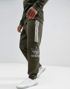 finest selection b3b40 03b8a Shop adidas Originals Outline Jersey Sweatpants In Green at ASOS. ModeSens  Men