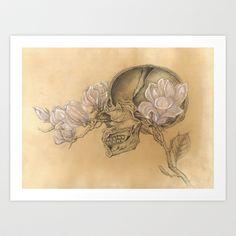HUMAN NATURE Anatomy Series Number 1 - Skull & Magnolia Flowers Art Print by Cassie Meder - $19.76