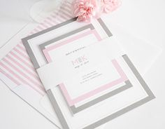 Gorgeous Wedding Invitations with Pink and Gray Borders
