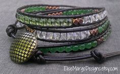 Chan Luu inspired 3-wrap Leather & Bead Bracelet - semi-precious green aventurine, clear green Czech, Bicone crystal & cooper beads w/ brass button closure. $39
