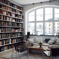 Home library envy anyone? Oh to have an arch window and towering book shelves... #booklove #writerslife #amreading  Image via Tumblr