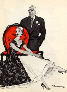 Jacques Griffe 1956 Mourgue Fashion Illustration Evening Gown