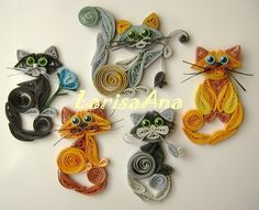 A paper quilled cat keychain made as a gift. I use an acrylic keychain holder that has depth, perfect for paper quilling! Paper Quilling Patterns, Origami And Quilling, Quilled Paper Art, Quilling Paper Craft, Paper Beads, Paper Crafts, Quilling Ideas, Origami Paper, Diy Paper