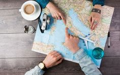 Young couple planning honeymoon vacation trip with map. Pointing to Europe Rome - stock photo Honeymoon Vacations, Vacation Days, Summer Vacations, Vacation Spots, Travel Destinations, Travel Tips, Travel Expert, Travel Books, Travel Plan