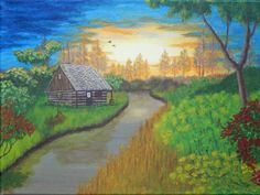 WILDERNESS CABIN on Canvas, Reproduction Acrylic Painting Landscape 12 X 16 Winding River Sunset Sunrise Nature Peaceful Rustic Scenic by ABrushOfLife on Etsy